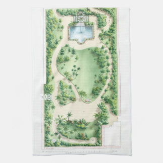 Vintage Tropical Garden Design Illustration Print Towel