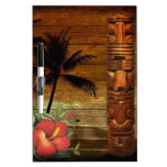 Vintage tropical hawaii beach totem dry erase white board