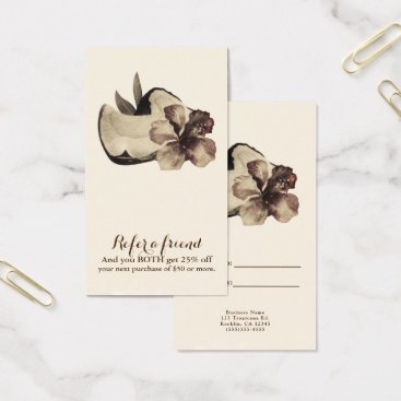 Beach Themed Vintage Tropical Hawaiian Hibiscus Refer a Friend Business Card