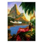 Vintage Tropical Hawaiian Sea Plane Palm Tree Card