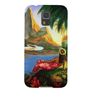 Vintage Tropical Hawaiian Sea Plane Palm Tree Case For Galaxy S5