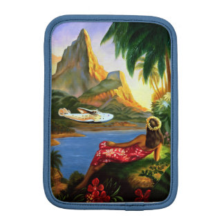 Vintage Tropical Hawaiian Sea Plane Palm Tree iPad iPad Mini Sleeves