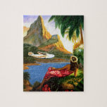 "Vintage Tropical Hawaiian Sea Plane Palm Tree Jigsaw Puzzle<br><div class=""desc"">Vintage Tropical Hawaiian Sea Plane Palm Tree</div>"