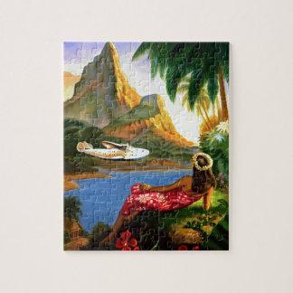 Vintage Tropical Hawaiian Sea Plane Palm Tree Jigsaw Puzzle