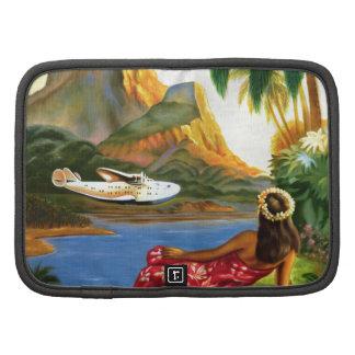 Vintage Tropical Hawaiian Sea Plane Palm Tree Folio Planner