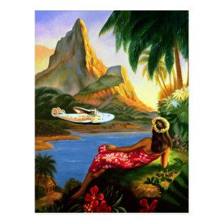 Vintage Tropical Hawaiian Sea Plane Palm Tree Postcard