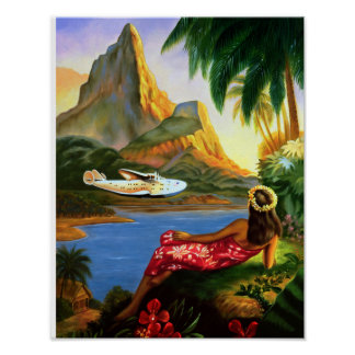 Vintage Tropical Hawaiian Sea Plane Palm Tree Poster