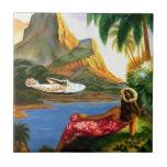 Vintage Tropical Hawaiian Sea Plane Palm Tree Small Square Tile