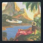 "Vintage Tropical Hawaiian Sea Plane Palm Tree Stone Coaster<br><div class=""desc"">Vintage Tropical Hawaiian Sea Plane Palm Tree Marble Coaster</div>"