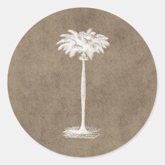 Vintage Tropical Island Palm TreeTemplate Blank Classic Round Sticker
