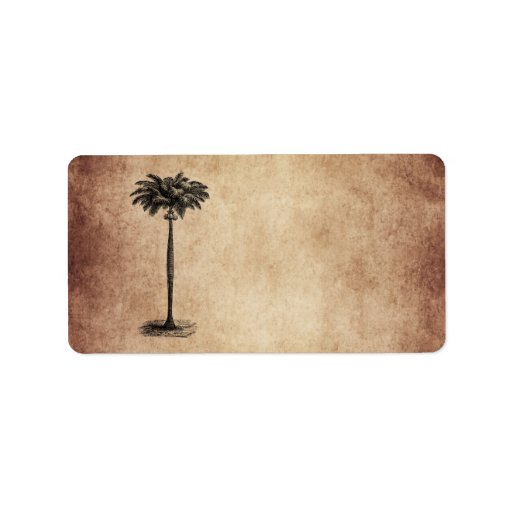 Vintage Tropical Island Palm Tree Template Blank Personalized Address Labels
