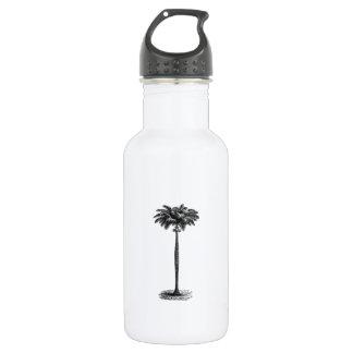 Vintage Tropical Island Palm TreeTemplate Blank Water Bottle