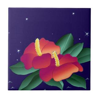 Vintage Tropical Night Blooms Hibiscus Flower Tile