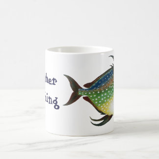 Vintage Tropical Opah Fish, I'd Rather be Fishing Classic White Coffee Mug