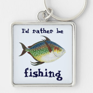 Vintage Tropical Opah Fish, I'd Rather be Fishing Keychain