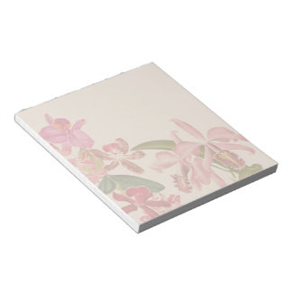Vintage Tropical Orchid Flowers Floral Notepad