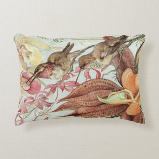 Vintage Tropical Orchids, Flowers and Hummingbirds Accent Pillow