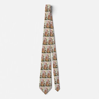 Vintage Tropical Orchids, Flowers and Hummingbirds Neck Tie