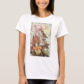 Vintage Tropical Orchids, Flowers and Hummingbirds T-Shirt