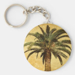 Vintage Tropical Palm Tree Basic Round Button Keychain