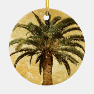 Vintage Tropical Palm Tree Double-Sided Ceramic Round Christmas Ornament