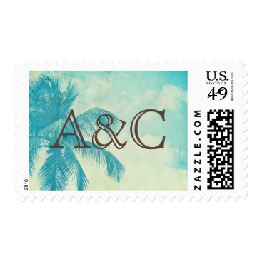 Beach Themed Vintage Tropical Palm Tree | Initials Postage