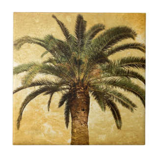 Vintage Tropical Palm Tree Small Square Tile
