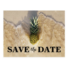 Vintage Tropical Pineapple Beach Save the Date Postcards