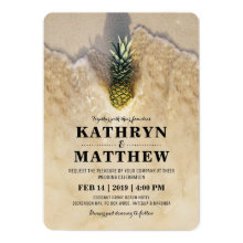 Vintage Tropical Pineapple Beach Wedding Invitations