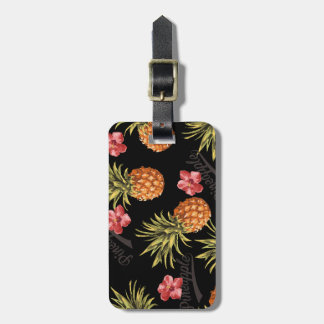 Vintage Tropical Pineapple Hibiscus Travel Tag