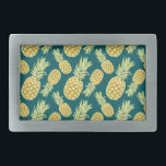 "Vintage Tropical Pineapple Print Belt Buckle<br><div class=""desc"">super cute and trendy vintage tropical Hawaiian inspired pineapple print - bright pineapples on a striking teal background make these gift items stand out.</div>"