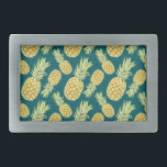 """Vintage Tropical Pineapple Print Belt Buckle<br><div class=""""desc"""">super cute and trendy vintage tropical Hawaiian inspired pineapple print - bright pineapples on a striking teal background make these gift items stand out.</div>"""