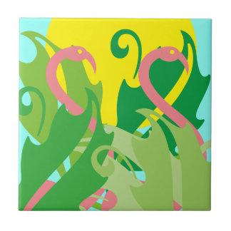 Vintage Tropical Retro Pink Flamingo Island Tile