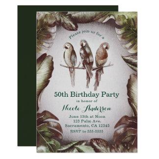 Vintage Tropical Tiki Birds Parrots & Leaves Party Card