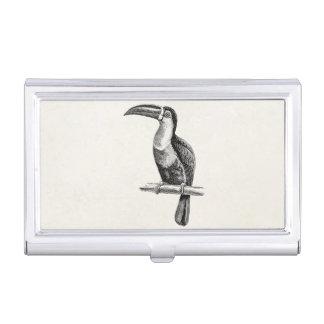 Vintage Tropical Toucan Bird Illustration Template Business Card Holder