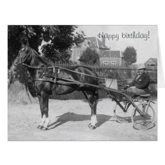 Vintage trotter and sulky birthday card