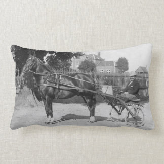 Vintage trotter and sulky lumbar pillow