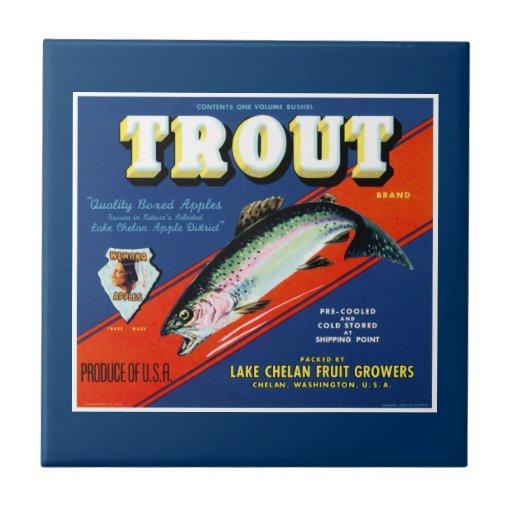vintage trout brand apple label ceramic tile zazzle
