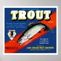 Vintage Trout Brand Apple Label