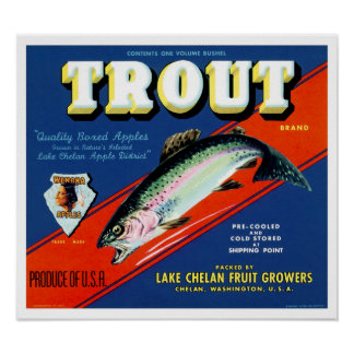 Vintage Trout Brand Apple Label Poster