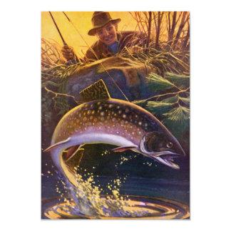 Vintage Trout Fishing Fish, Retirement Invitation