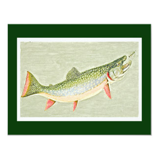 Vintage Trout fly fishing art Card