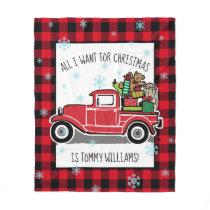 Vintage Truck All I Want for Christmas Custom Text Fleece Blanket