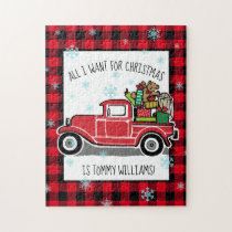 Vintage Truck All I Want for Christmas Custom Text Jigsaw Puzzle
