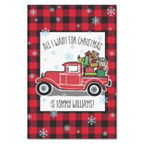 Vintage Truck All I Want for Christmas Custom Text Tissue Paper