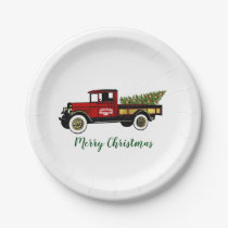 Vintage Truck Christmas Tree Farm Your Text Paper Plate