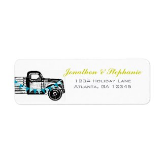 Vintage Truck Getting Hitched Wedding Labels