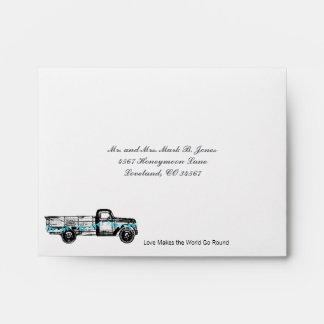 Vintage Truck Love Wedding RSVP Envelopes