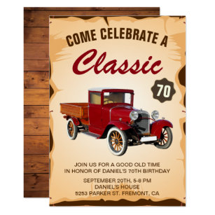 Vintage Truck Milestone Birthday Party Invitation