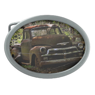 Vintage truck oval belt buckle